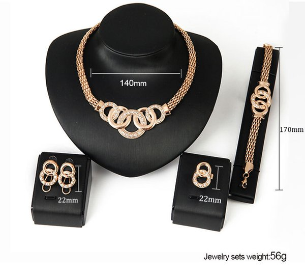 top popular Statement Jewelry Crystal Gold Necklace Bracelet Earrings Rings Jewelry Sets Wedding Jewelry for Women Gift Drop Shipping 2020