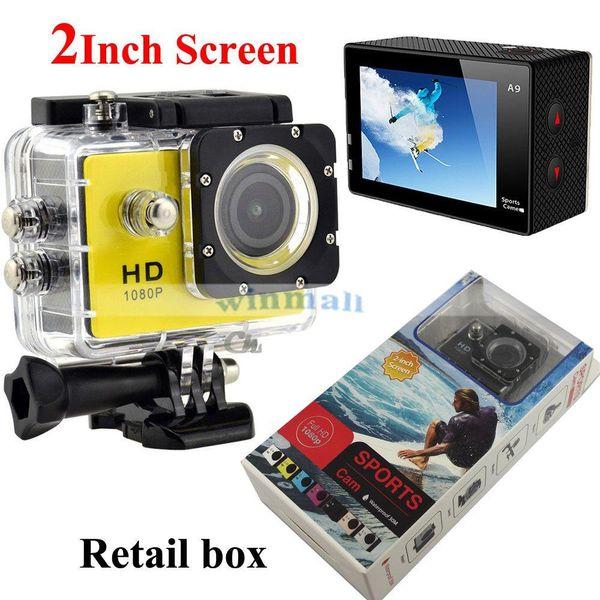 Más barato superventas SJ4000 A9 Full HD 1080P cámara 12MP 30M impermeable Sport Action Camera DV CAR DVR