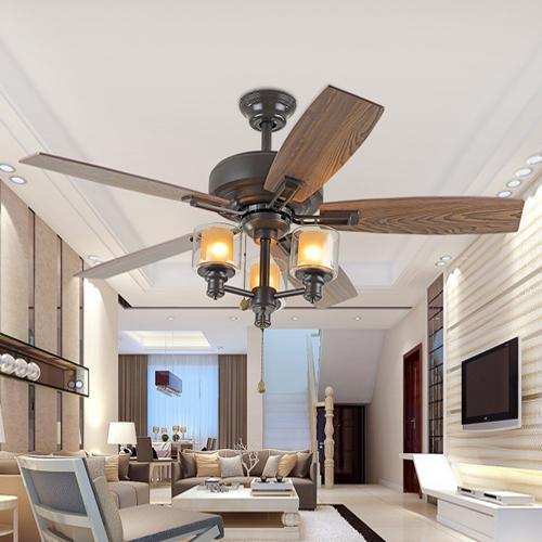 42-inch LED ceiling fans 110V-240V wooden fan blade American European retro ceiling fans lights for restaurant sitting room