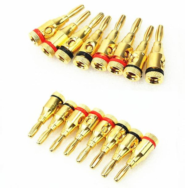50 pcs\Bag freeshipping 4mm 24k Gold Plated Musical Speaker Cable Wire Pin Banana Plug Connector Home Theater