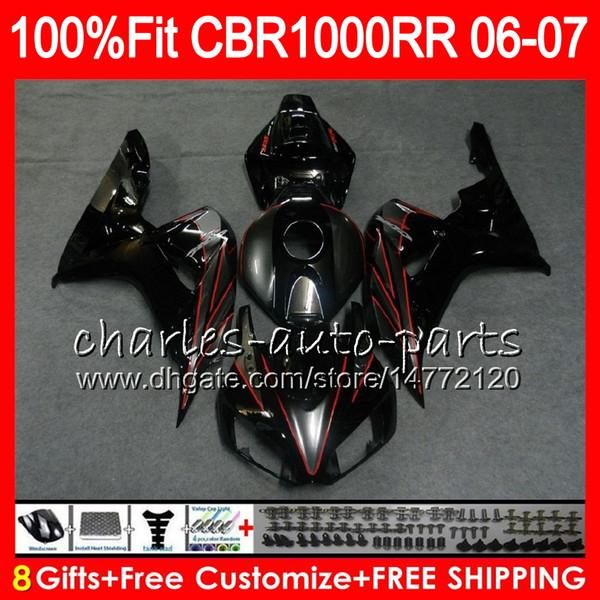 glossy black Injection Body For HONDA CBR 1000RR CBR 1000 RR 06 07 78NO51 100% Fit CBR1000RR 06 07 Bodywork CBR1000 RR 2006 2007 Fairing kit