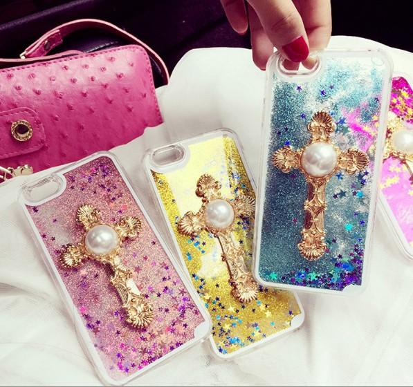 Fashion New Bling Glitter Powder Water Quicksand Phone Case with Pearl Cross PC Hard Back Cover Mobile Phone Cases for Iphone5 6 6plus