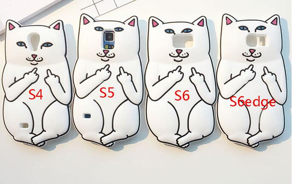 3D Ripndipp Pocket Cat Middle Finger Soft Silicone GEL Case For Samsung Galaxy S4 S5 S6 S7 EDGE A5 E5 J1 ACE J2 NOTE 4 5 Cartoon Skin Cover