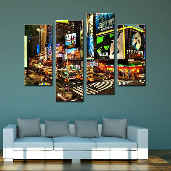 4 Piece Wall Art Painting New York Times Square Pictures Prints On Canvas City For Home Living Room Modern Decoration Unframed Ready to Hang