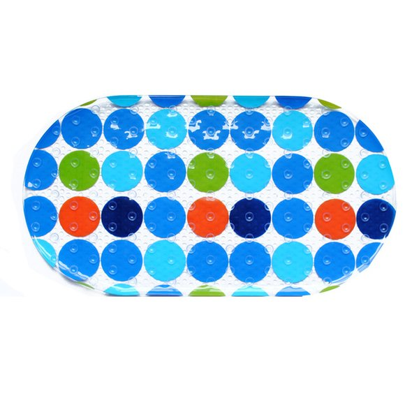 PVC Plastic Non Slip Bath Shower Floor Mat Colorful Rings Strong Suction Cup 70x38cm Oval