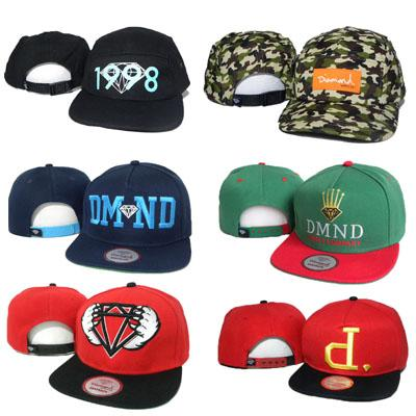 2016 Diamond 5 Panel Cap Men Women Hat DMND Five Snapback 1998 Hip Hop Caps Camo White Green Snap Backs Strapback Cheap Wholesale