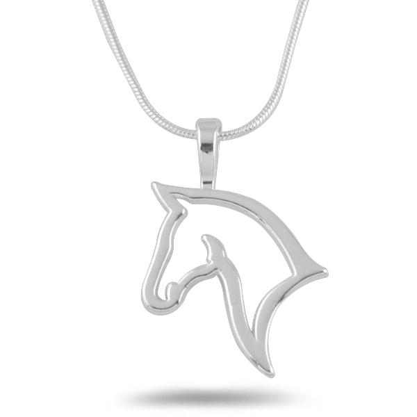 Hot Sale Rhodium Plated Fashion Snake Chain Necklaces Carve The Head Symbol of Horse Cute Gifts For Friends