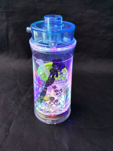 Acrylic 6 flash pot --glass hookah smoking pipe Glass gongs - oil rigs glass bongs glass hookah smoking pipe - vap- vaporizer