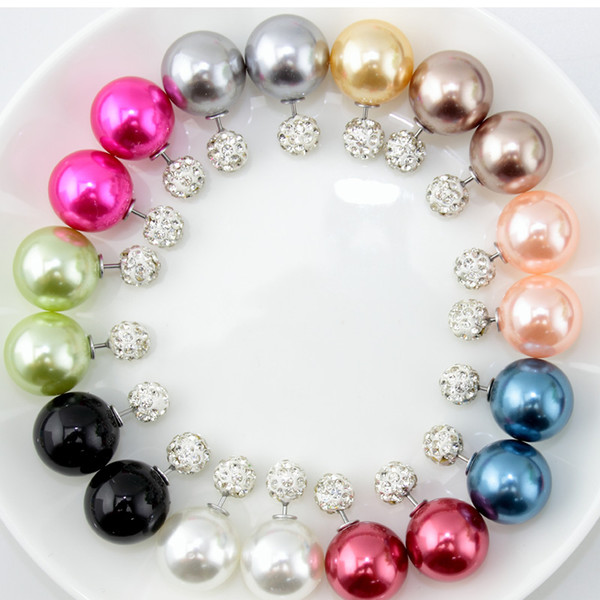 50 pairs/lot Women Double Sided Pearl Earrings in Jewelry Crystal Ball Earring Female NEW Brand CC Jewellery