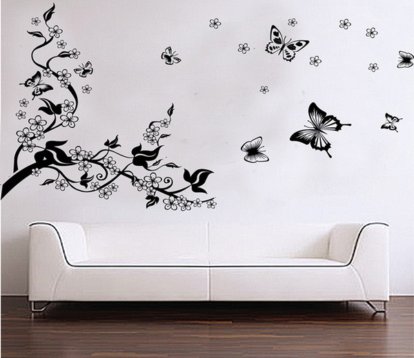 Flower Branch Vine Butterfly Self Adhesive Vinyl Removable Decal