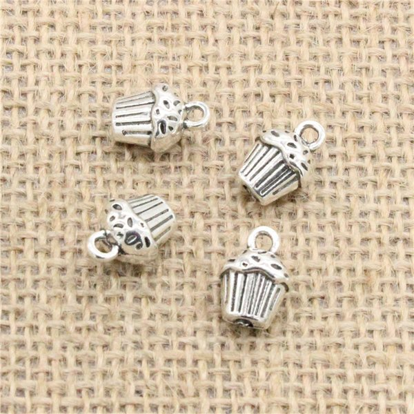 Wholesale 50pcs Charms Tibetan Silver plated 3D cupcake cake 13*10*8mm Pendant for Jewelry DIY Hand Made Fitting