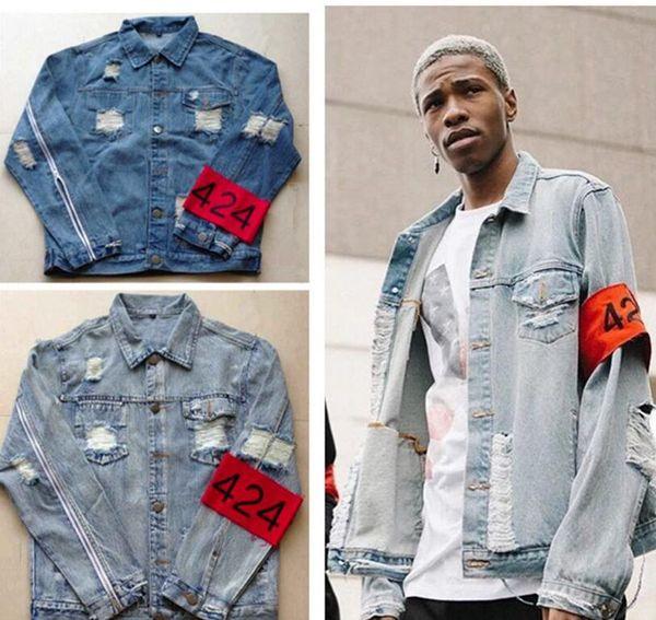crownbonanza / Hip-hop male jacket brand clothing the fear of god, four hundred and twenty-four spring/summer 424 hole designer jeans denim jacket coat