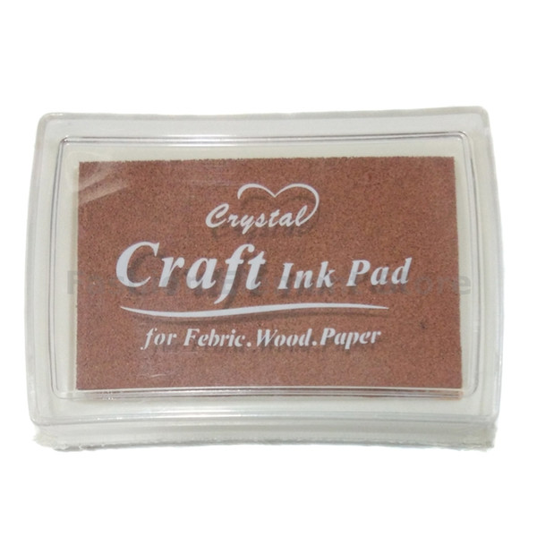 top popular Wholesale-1pcs lot Full Size Stamp Ink Pad for Paper Wood Fabric Chocolate Brown Inkpad Craft Y020 2021