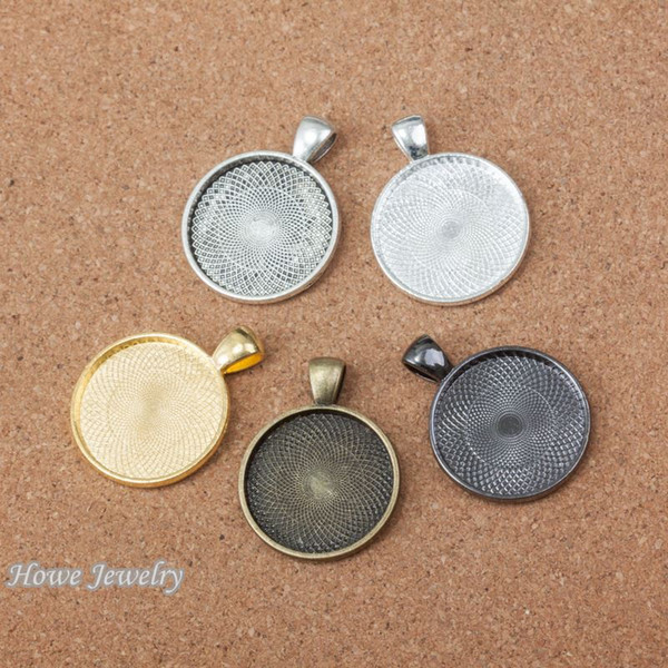 15pcs Vintage Charms round Cameo/Cabochon frame Pendant Fit Bracelets Necklace DIY Metal Jewelry MakingD009