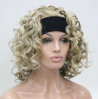 free shipping beautiful fashion Copper Red 3/4 wig with headband short curly synthetic women's half wig
