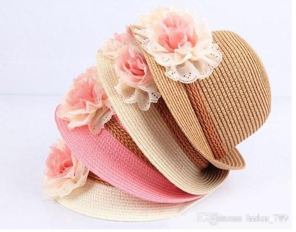 Baby Flower Caps Baby Hut Kinder Stroh Fedora Hut Mädchen Sonnenhut Kinder Sommer Hut Jazz Cap Zwei Blume Sonnenhut rosa beige Kinder Strand Hut