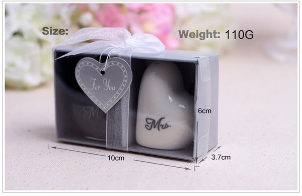 100sets 200pcs Mr. and Mrs. heart shaped Ceramic Salt Pepper Shakers + Wedding bridal shower Favors gifts Free shipping
