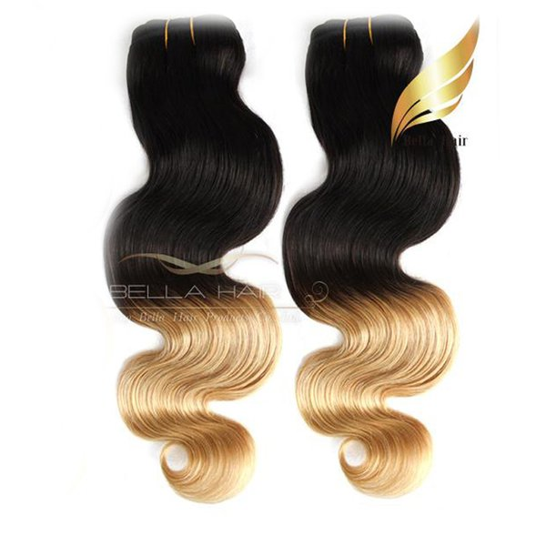 "Indian Hair Extensions Weft Ombre Human Hair Dip Dye Two Tone #T1B/#27 Color 14""-26"" 3PC Human Hair Weaves Body Wave Bellahair 7A"