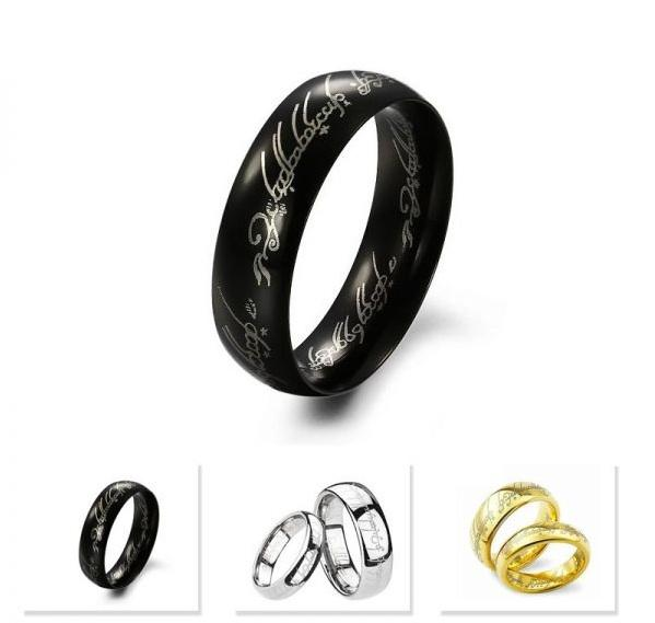 wholesale 50pcs mixed lot The Lord of the Rings mens womens top 316L stainless steel 6mm polished band jewelry rings