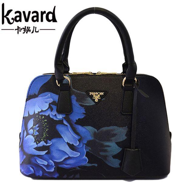 Wholesale-2016 New Shell Flower PU Lleather Women Handbags Shoulder Bag For Female Designer Printing Ladies Hand bag Famous Brand Tote