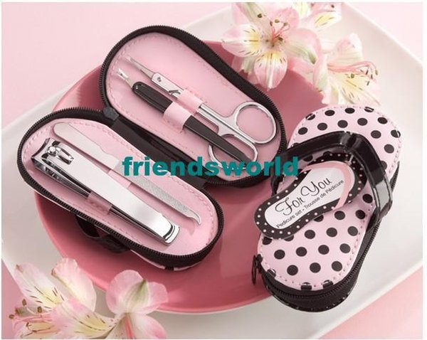 "Hot Sale 100pcs/lot Nail Care --""Pink Polka Flip Flop"" Four Pedicure Set Manicure Set Wedding Gift"