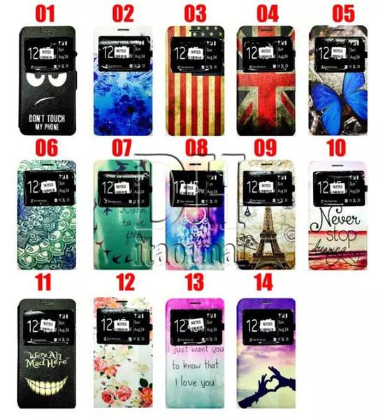 Pour la note 5 cas articles PU cuir dessin coloré pour iphone 5s 6 plus Samsung Galaxy S6 Note 5 Note4 avec porte-monnaie du titulaire de la carte