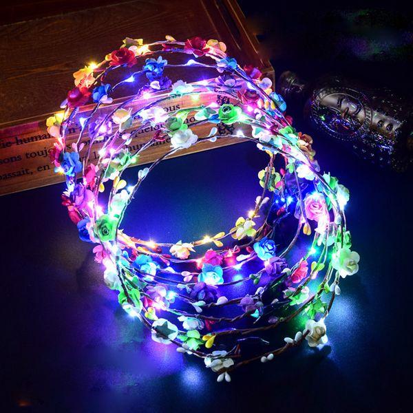 Colorful LED lampeggiante capelli fascia del fiore Luce Floreale Garland Corona Wedding ragazza delle donne Accessori per capelli