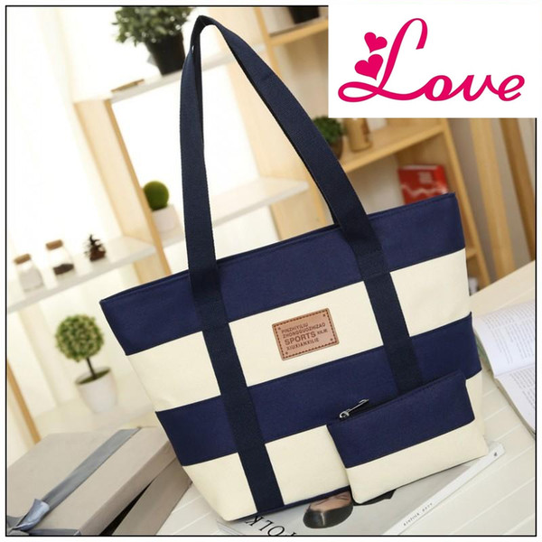 Lucia's Women Big Bags Canvas Wide Stripe Woman Shoulder Bags Stitching Color Simple Ladies Handbags Bags