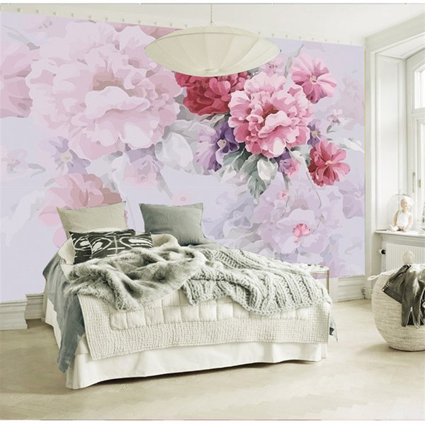 American Village Pastoral Wallpaper Bedroom Living Room Fondo de pantalla de TV Pintado a mano Warm Floral Large Wall Canvas