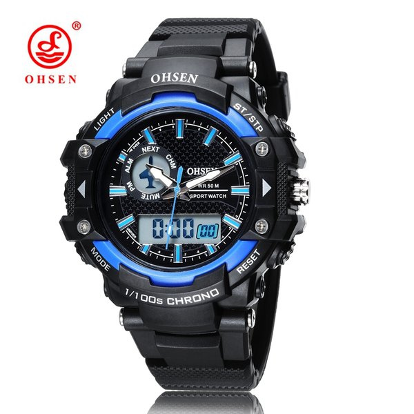 New arrival OHSEN Digital Quartz Sport Man WristWatch 50M Waterproof Rubber Band Man Sports Watches Hombre Hand Clock Relogio Masculino Gift