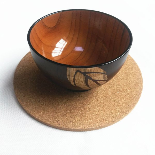 Wholesale- TRONYOO 18CM Round Coasters 6PCS set wooden Placemats Table mat lot cup pad dining mug cork drink coffee kitchen wine bowl