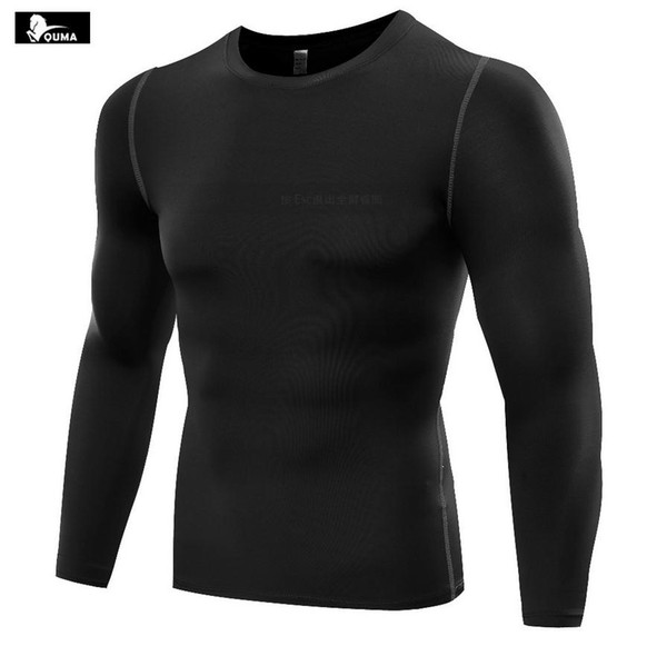 New 2016 Outdoor Men Pro Sport Sweat Fitness Running Tight Base Layer Elastic Quick-drying Long-sleeve Basketball T-shirts B5019