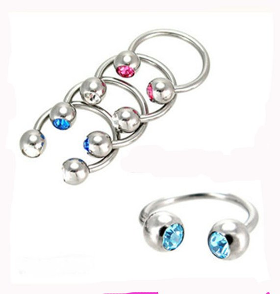 50pcs/lot mix 10 color Body Piercing Jewelry stainless steel CBR ring double gem nose stud earring horseshoe 2016 Fashion Bijoux