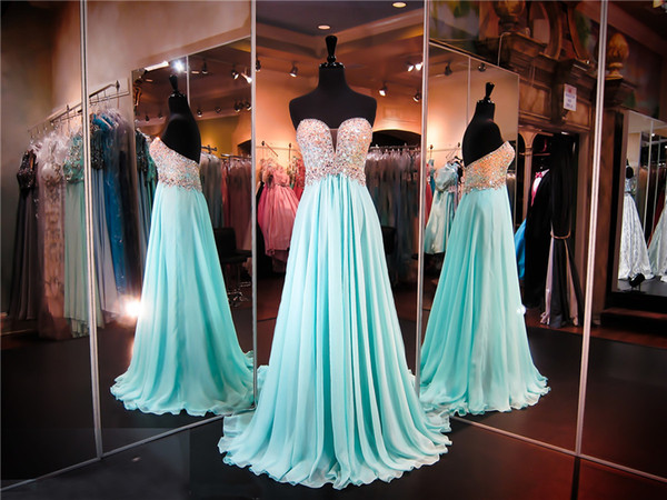 Deep Sweetheart Strapless Ombre Top Chiffon Prom Dress Crystals Top A-line Event Dress Pageant Dresses party dress