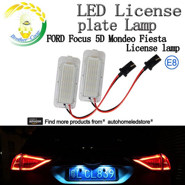 2X LED License Plate Light New for Ford Focus 5D Mondeo Fiesta Kuga Xenon White 6000k Canbus No Error E8