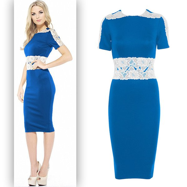 Star Same Style Empire Lace Pencil Dress Bodycon Red Blue Slim Fashion Short Sleeve One-piece Dress
