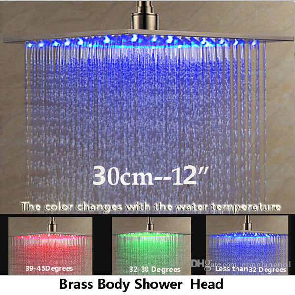 """top popular New 12"""" LED Rain Shower Head Ceiling Mounted Nickel Brushed Over-Head Shower Sprayer 2019"""