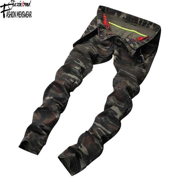 Großhandels-Männer plus Größe Midweight voller Länge Bleistift Hosen Männer Hosen Jeans Marke Pantalon Homme De Marque Camouflage Cargohosen Männer