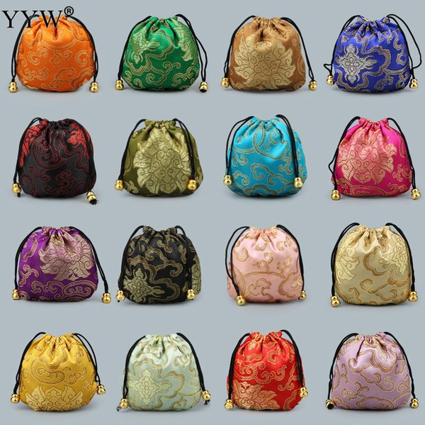 Chinese Silk Satin Fabric Jewelry Gift Pouch Drawstring Necklace Bangle Bracelet Travel Storage Bag Craft Packaging Bags 10pcs