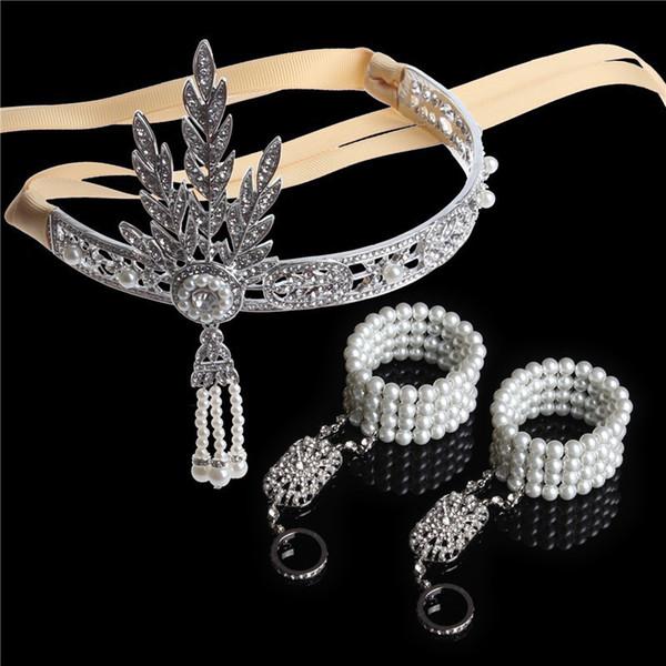 Trendy 3 adet Büyük Gatsby Bandı Saç Aksesuarı Düğün Gelin Tiara Başlığı Kristal Püsküller Band Takı seti