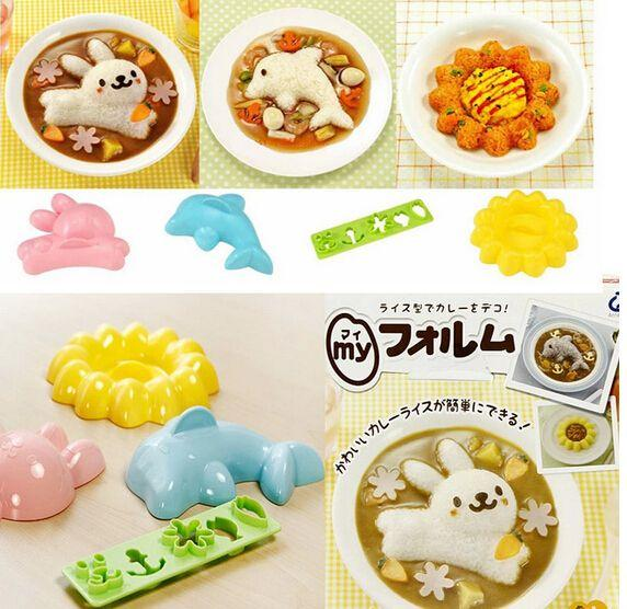 100sets/lot Rabbit Dolphins Sunflower Cartoon 4 pieces DIY Rice And Sushi Mold Set For Kids Children