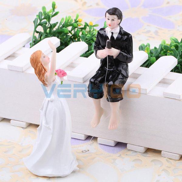 Venda por atacado - Noivo e noiva de pesca Engraçado Bolo De Casamento Toppers Decoração Resina Estatueta