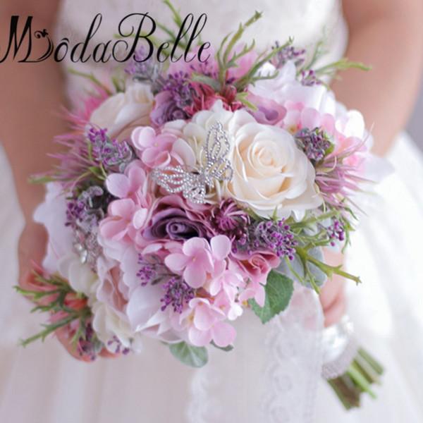 Grosshandel 2017 Kunstliche Blumen Brautstrauss Lila Rosa Hortensie