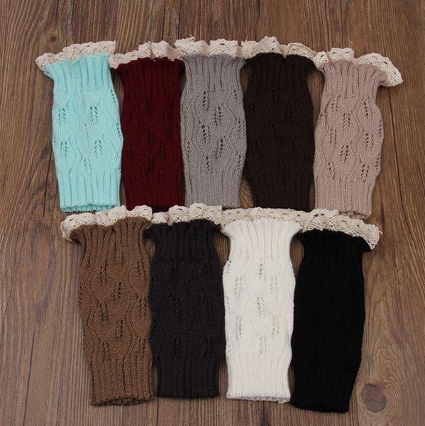 Atacado-1 Par Mulheres Crochet Malha Lace Trim Toppers Punhos Forro Polainas Meias de Inicialização para Meninas Femininas Presentes Manter Aquecido