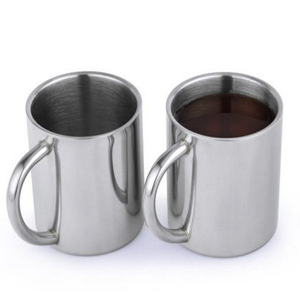Stainless Steel Cup Double Deck Baby Anti Scald Belt Handle Mug Multi Function Coffee Milk Cups Hot Sale 8th J R