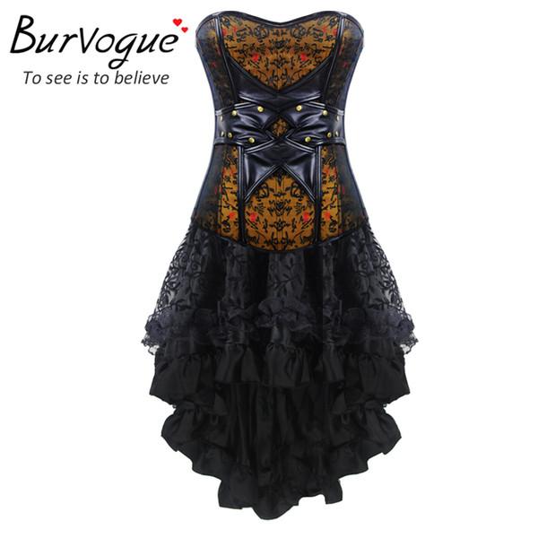 All'ingrosso-Burvogue donna corsetto in pelle e bustier Top Sexy corsetto gotico vestito overbust allenamento vita corsetto costumi