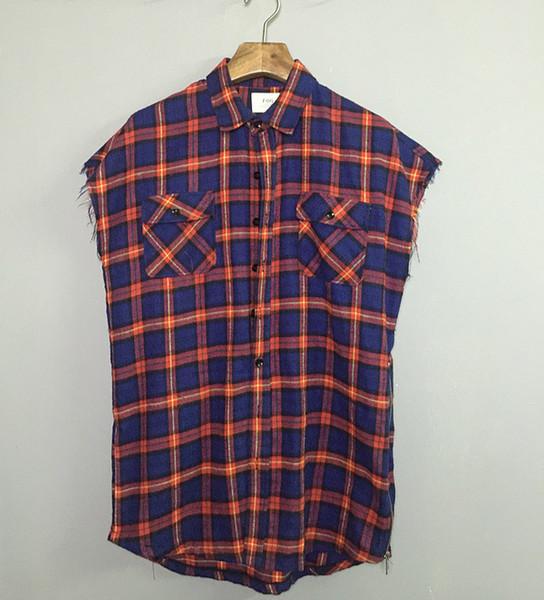All'ingrosso-2016 Top paura di dio camicia di flanella Plaid Raw bordo polsino Mens camicia con zip design senza maniche Camicie Justin Bieber