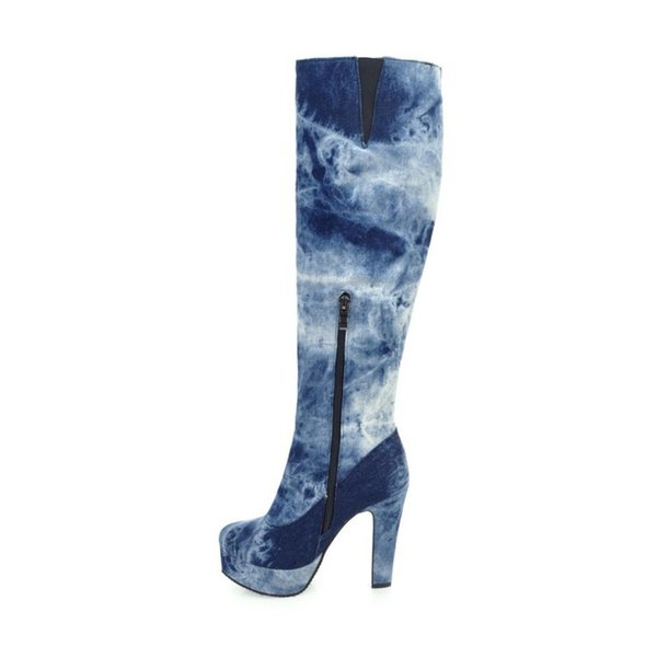 2017 new style platform high heels 12cm knee high jeans boots fashion shoes for woman big size 40-50 blue denim boots