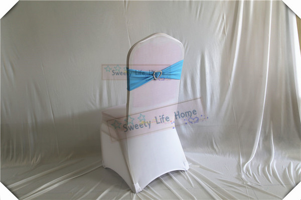 Free shipping 100pcs Sky blue color Chair Bands banquet Spandex Chair Sash Stretch Lycra chair bows with sillver Heart buckle