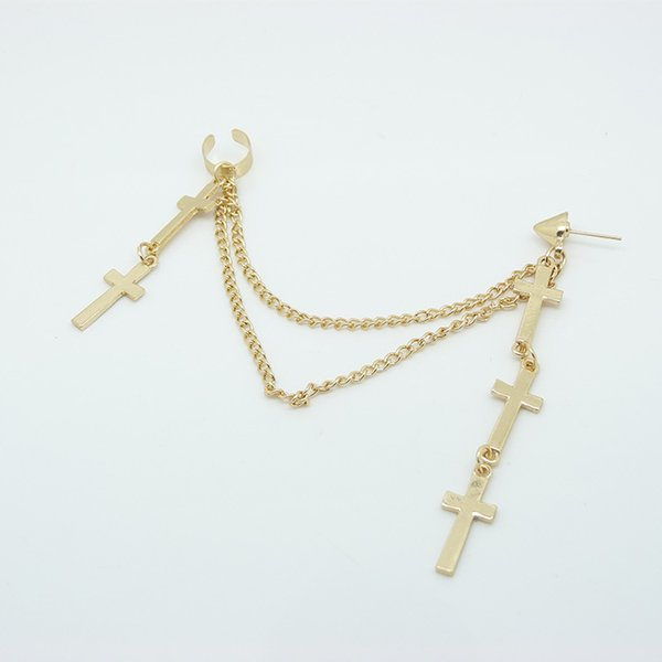 2014 Hot Sale Clips Popular Personality Punk Metal Christian Cross Tassel Chains Ear Cuff Gothic Clip Earrings 3 Colors E231